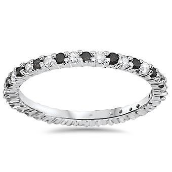 1/2ct Black & White Diamond Eternity Ring 14K White Gold