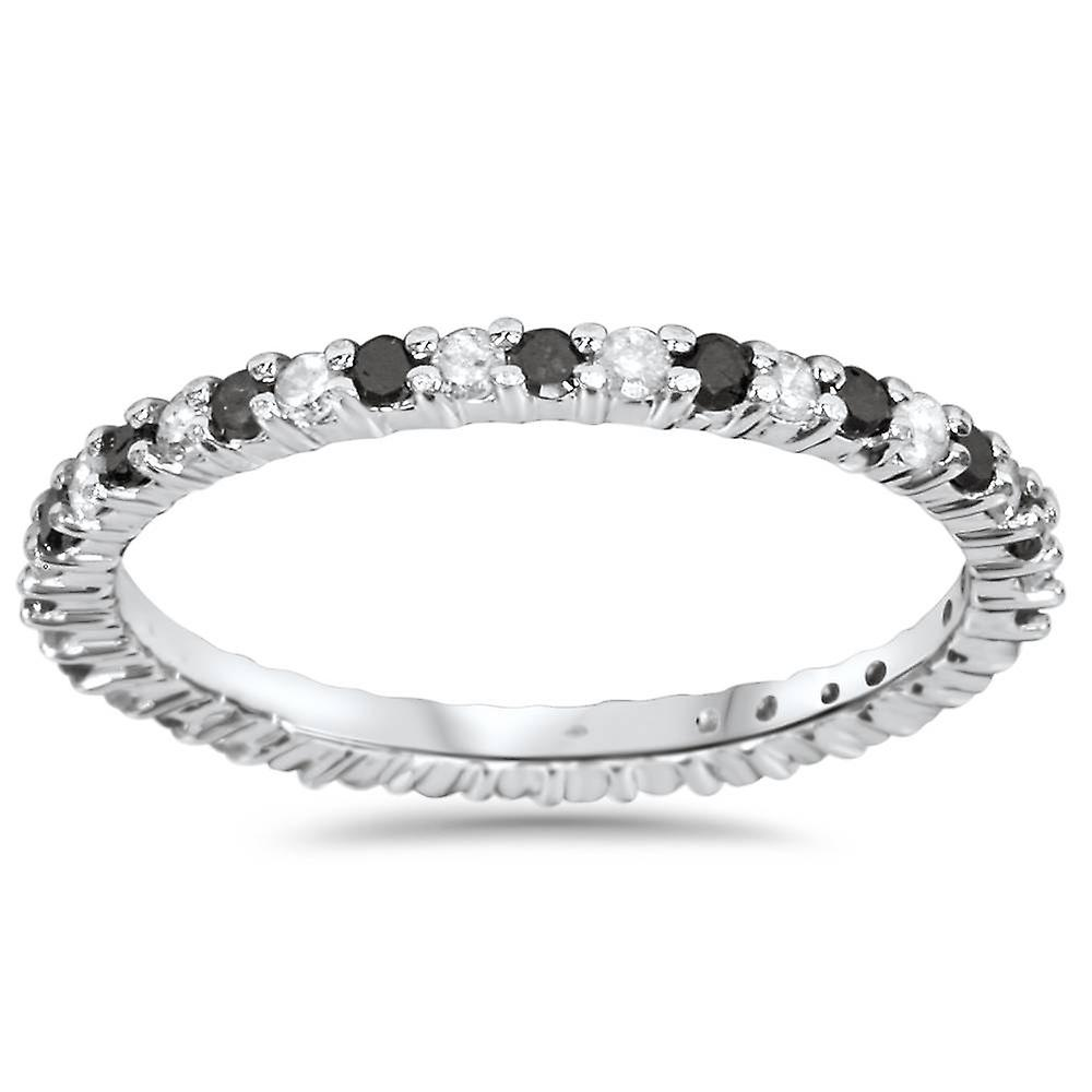 1 2ct noir & blanc Diamond Eternity sacue 14K blanc or