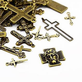 Packet 30 Grams Antique Bronze Tibetan 5-40mm Cross Charm/Pendant Mix HA07060