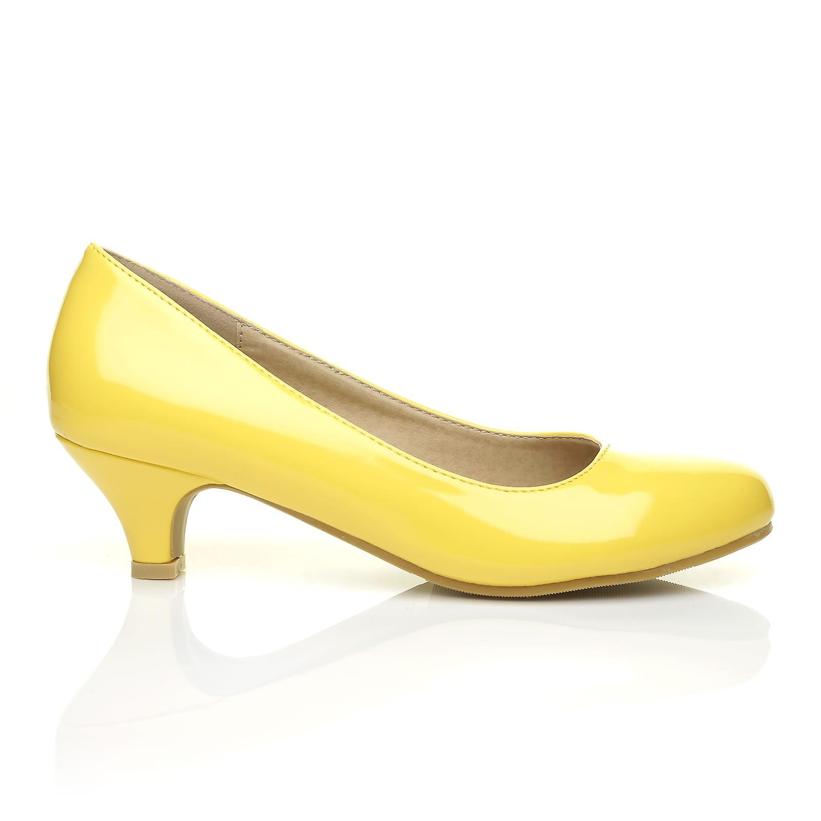 CHARM Round Yellow Patent PU Leather Low Heel Round CHARM Toe Comfort Court Shoes 05003b