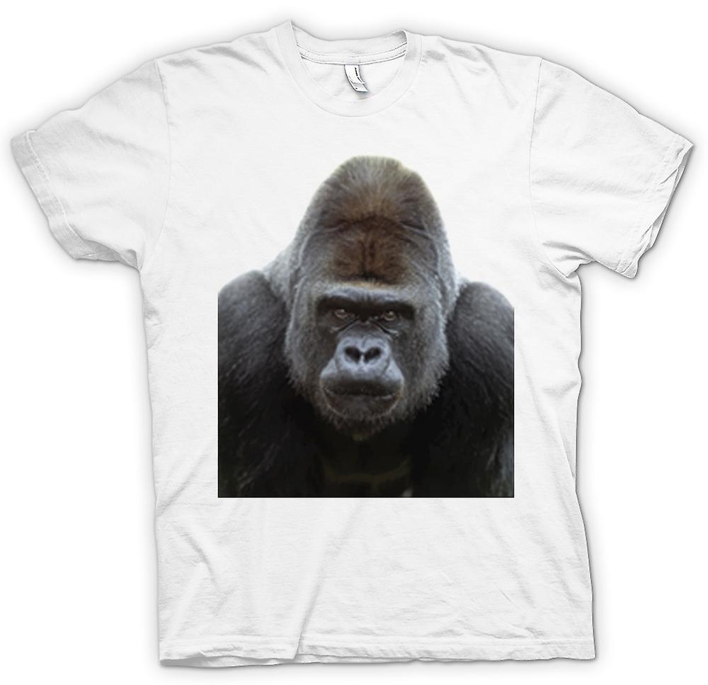 Hombres camiseta-gorila espalda plateada retrato