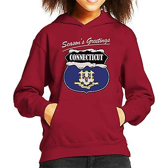 Seasons Greetings Connecticut State Flag Christmas Kid's Hooded Sweatshirt