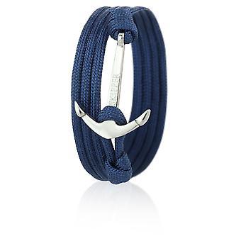 Schipper anker armband armband nylon in Navy met zilveren anker 6626