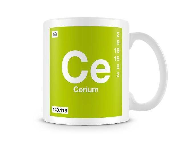 Element Symbol 058 Ce - Cerium Printed Mug