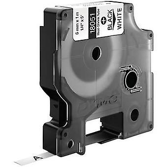 Heatshrink label DYMO IND RHINO 18051 Polyolefin Tape colour: White Font colour:Black 6 mm 1.5 m