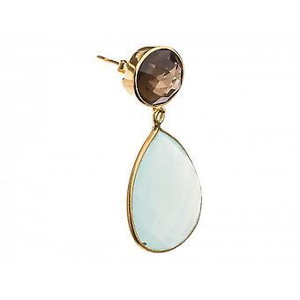 Paar Damen - Ohrringe - 925 Silber Vergoldet - Chalcedon - Rauchquarz - Meeresgrün - Braun - 4 cm