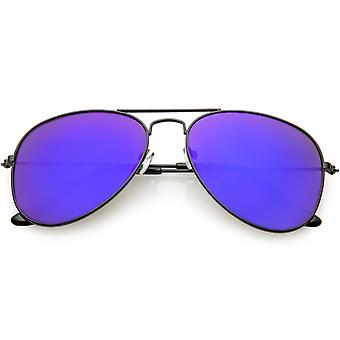 Classic Black Aviator Sunglasses For Women Men Mirrored Lens 57mm