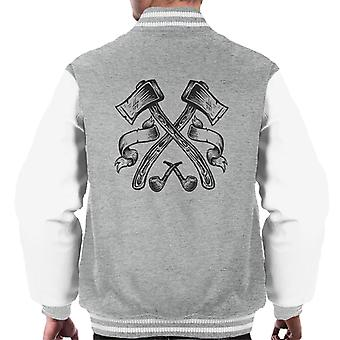 Axes And Pipes Retro Logo Men's Varsity Jacket