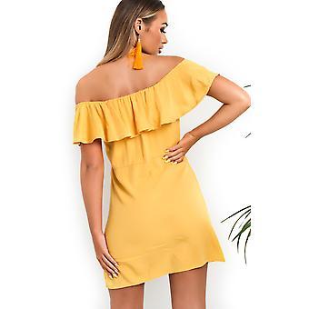 IKRUSH Womens Vivi Off Shoulder Button Up Dress