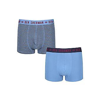 Ben Sherman Underwear Men's 2 Pack Boxer Trunk Shorts Blue Marl Wilkes