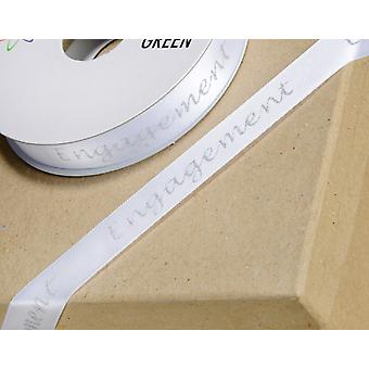 15mm Engagement Ribbon White with Silver Glitter Words - 10m Long
