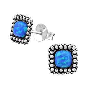 Square - 925 Sterling Silver Opal And Semi Precious Ear Studs - W28293x