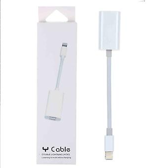 8 pin adapter splitter 2 in 1 charging and audio-white-for iPhone-7/8