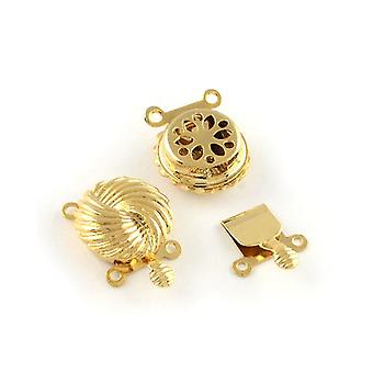 Packet 4 x Golden Metal Alloy Flower Box Clasps 14 x 20mm Y02850