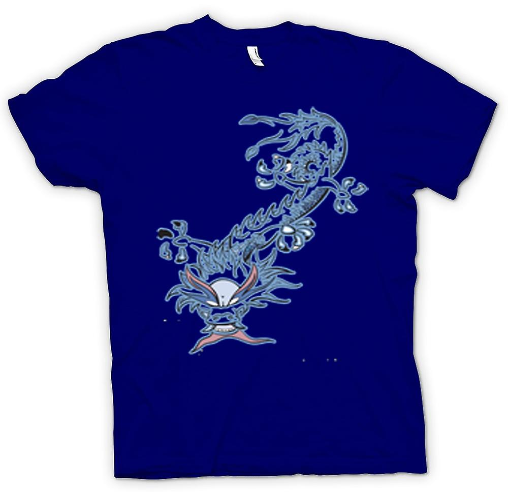 Mens T-shirt-Oriental Dragon Tribal
