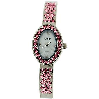 The Olivia Collection Silver Tone Cz MOP Oval Dial Ladies Dress Bangle Watch