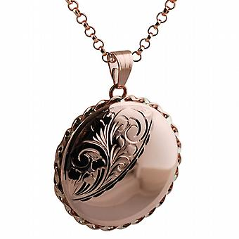 9ct Rose Gold 31mm round half engraved twisted wire edge flat Locket with belcher Chain 18 inches