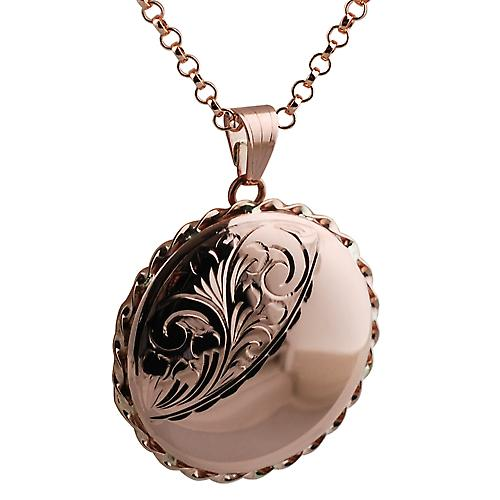 9ct Rose Gold 31mm twisted wire edge flat round Locket with Belcher chain