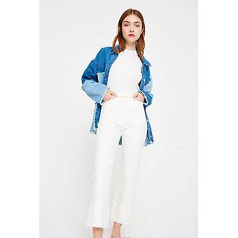 Side Party Cropped Wide Leg Raw Edge Jeans