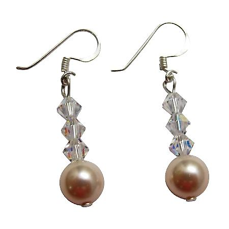Ivory Swarovski Pearl AB Crystals Cute Earrings 92.5 Earrings