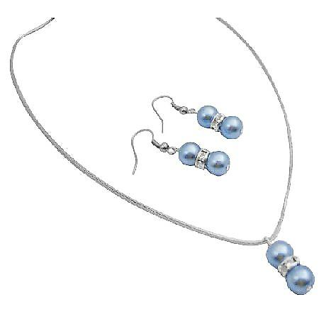 Cool Blue Jewelry w/ Silver Rondells Spacer Jewelry Set