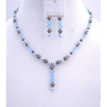 Chocolate Brown Pearls w/ Aquamarine Crystals Wedding Bridal Jewelry