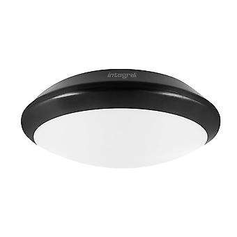 Integral - LED Flush Ceiling Light Bulkhead 24W 4000K 2500lm IK10 Matt Black IP66 - ILBHA041