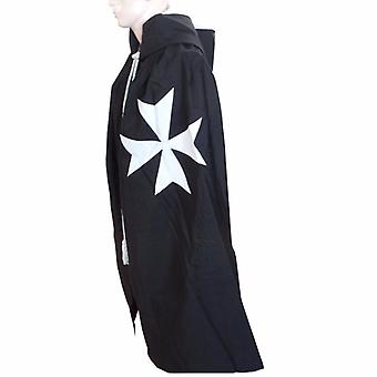Masonic Knight Malta Cloak Mantle Black with (8 pointed) Malta Cross