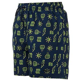 Infant Boys Speedo Printed 15� Swim Shorts In Navy Yellow- Ribbed Waistband-