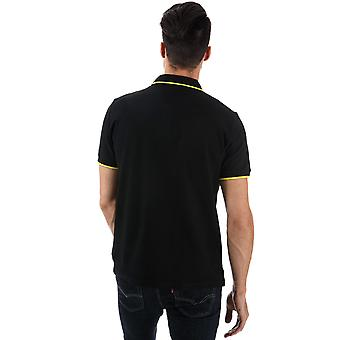 Mens Ben Sherman Tipped Pique Polo Shirt In Black Gold- Short Sleeve- Ribbed