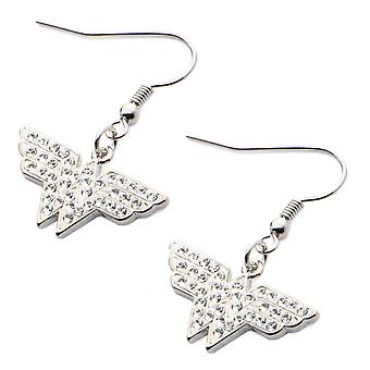 Stainless Steel Hook Dangling Clear CZ Wonder Woman Earrings