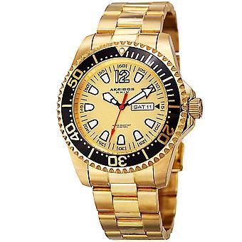 Akribos XXIV AK947YG Diver style jour date bracelet en acier inoxydable montre