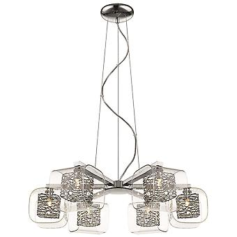 Spring Lighting - Nottingham Chrome And Glass Six Light Pendant  IPMM060DI6EFDP