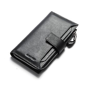 Hautton Leather Pink Clutch Wallet With Pull Out Sleeve - Black
