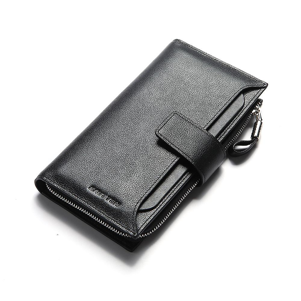 Hautton cuir Clutch Wallet With Pull Out Sleeve - noir