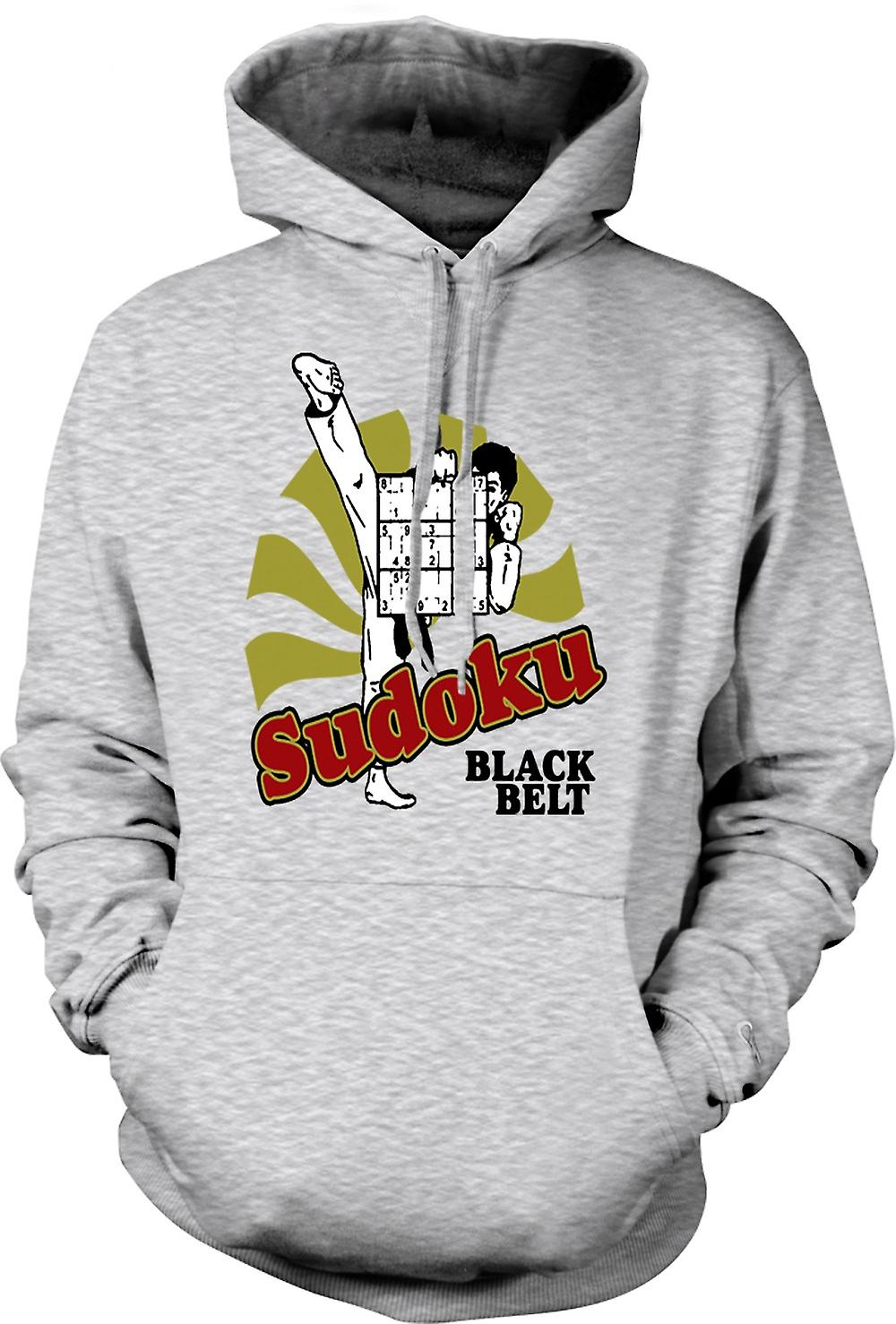 Mens Hoodie - Sudoku Black Belt Karate - Funny