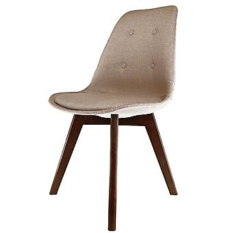 Fusion Living Eiffel Inspired Beige Fabric Dining Chair With Squared Dark Wood Legs