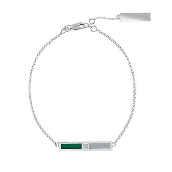 Babson College Diamond Bar Bracelet In Green And Grey