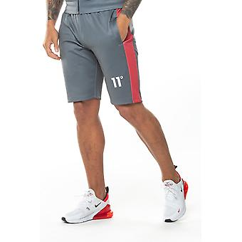 11 Degrees Colour Block Poly Shorts - Anthracite & Red