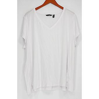 H par Halston Women-apos;s Plus Top Essentials V-Neck Tee White A306231