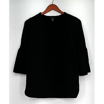 H di Halston Sweater A V-collo Campana Maglione Maglione Tunico Nero A297074