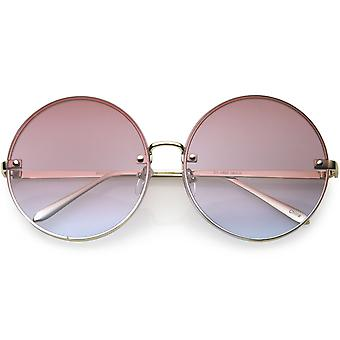 Large Rimless Womens Fashion Oversize Gradient Two-Toned Lens Round Sunglasses 65mm