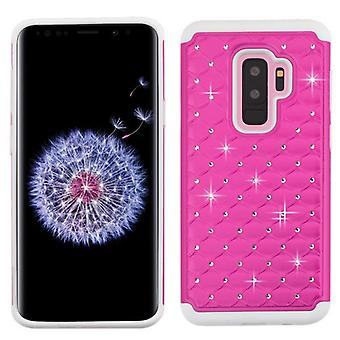 ASMYNA Hot Pink/Solid White FullStar Protector Cover  for Galaxy S9 Plus