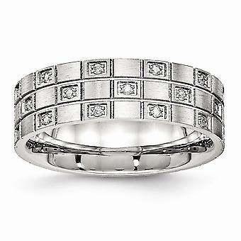 7mm de acero inoxidable cepillado ranurado Cubic Zirconia anillo - tamaño del anillo: 5 a 10