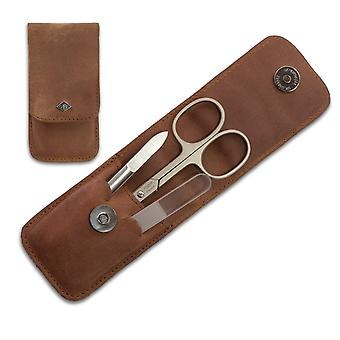 Exclusive Solingen 3-Piece Manicure Set in Natural Oiled Leather Case with Vintage look