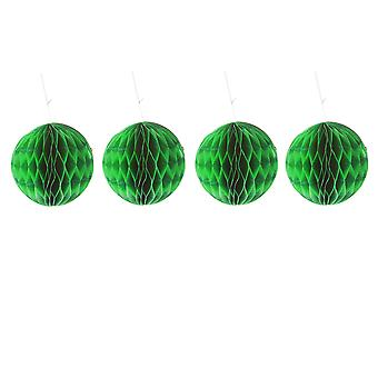 Pack of Four Green 10cm Honeycomb Retro Pom Pom Decorations