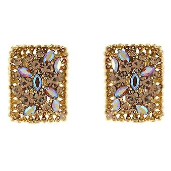 Clip On Earrings Store Topaz and AB Swarovski Crystal Rectangle Treasure Clip On