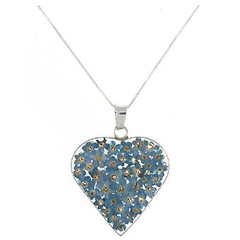 Shrieking Violet Sterling Silver Blue Forget Me Not Flowers Heart Pendant