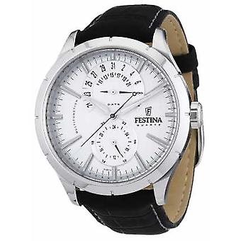 Festina Mens Black Leather Strap White Chronograph F16573/1 Watch