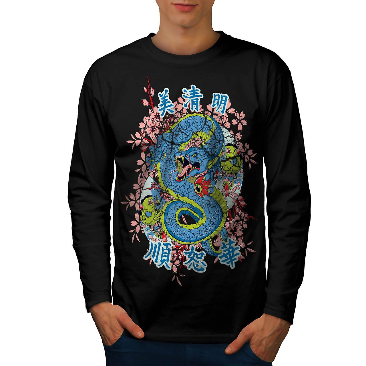 Dragon Chinese Legend Enter Myth Men Black Long Sleeve T-shirt | Wellcoda